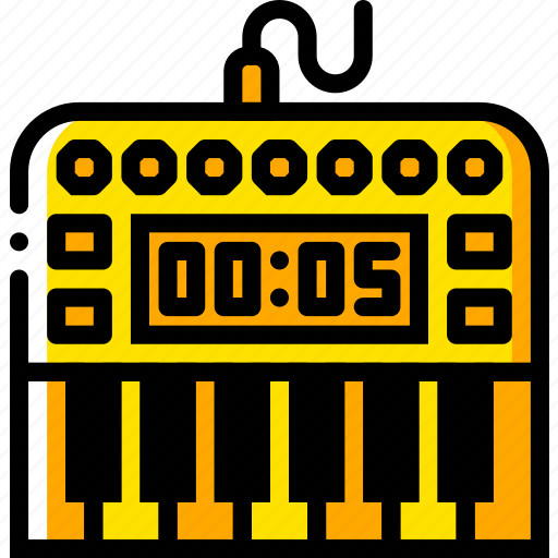 digital, music, piano, play, yellow icon