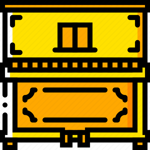 classic, music, piano, play, sound, yellow icon