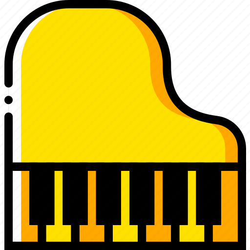 music, piano, play, sound., yellow icon