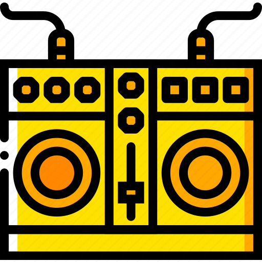 mixing, music, plates, play, yellow icon