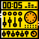 gear, mixing, music, play, sound, yellow icon
