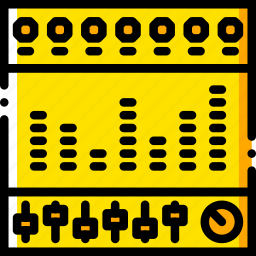 equalizer, music, play, sound, yellow icon