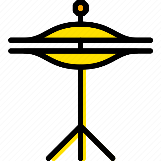 cymbals, music, play, sound, yellow icon