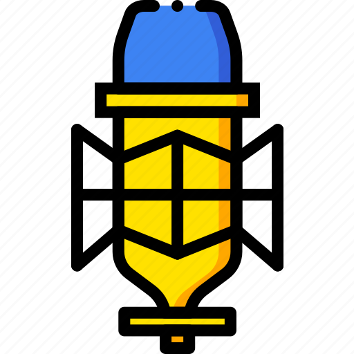 condenser, microphone, music, play, sound, yellow icon