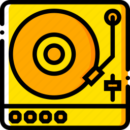 music, play, sound, turntable, yellow icon
