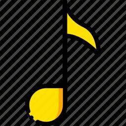 music, play, quaver, yellow icon