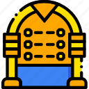 jukebox, music, play, sound, yellow icon
