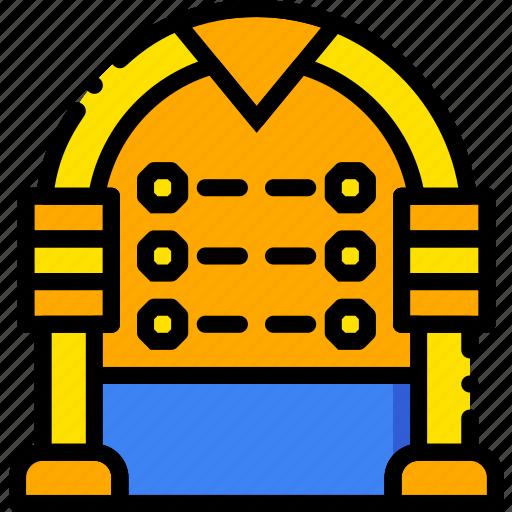 jukebox, music, play, sound, yellow icon