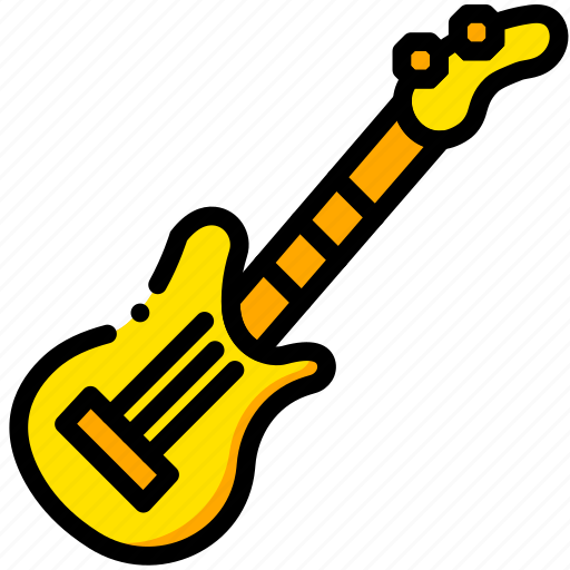electric, guitar, music, play, sound, sound., yellow icon