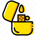 lighter, outdoor, wild, yellow icon