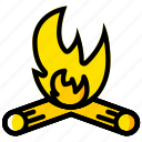 campfire, outdoor, wild, yellow icon