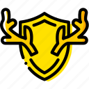 hunting, outdoor, trophy, wild, yellow icon