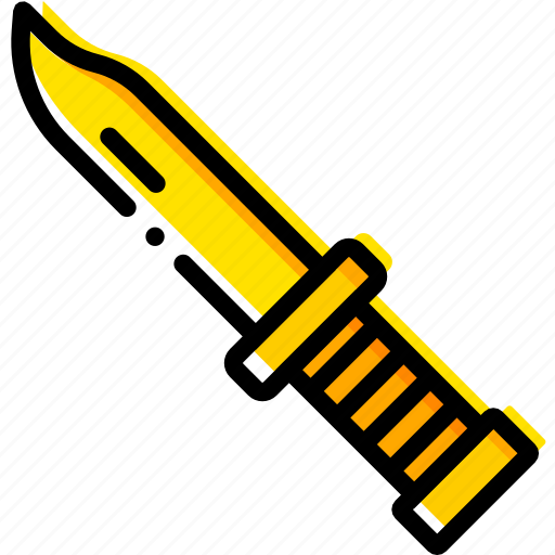 knife, outdoor, survival, wild, yellow icon