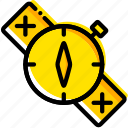 compass, outdoor, survival, wild, yellow icon