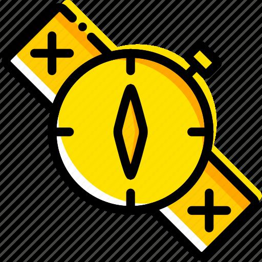 compass, outdoor, survival, wild, yellow icon