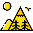 mountainside, outdoor, wild, yellow icon