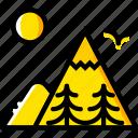mountainside, outdoor, wild, yellow icon