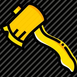 hatchet, outdoor, wild, yellow icon