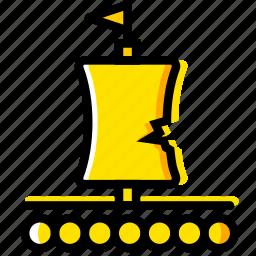 outdoor, raft, wild, yellow icon