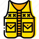fishing, outdoor, vest, wild, yellow icon