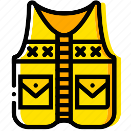 fishing, outdoor, vest, wild, yellow icon