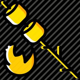 marshmallows, outdoor, wild, yellow icon