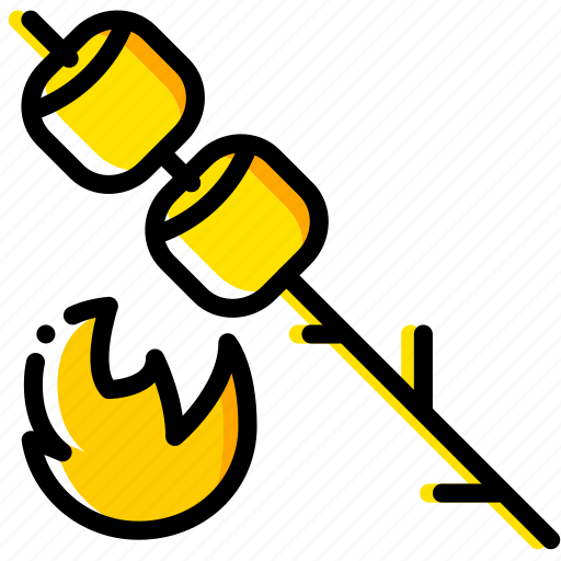 marshmallows, outdoor, wild, yellow icon