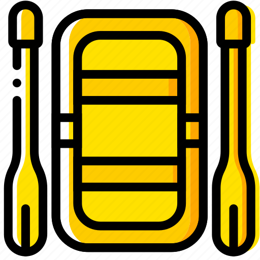 boat, outdoor, rafting, wild, yellow icon
