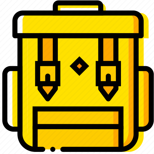 backpack, camping, outdoor, wild, yellow icon