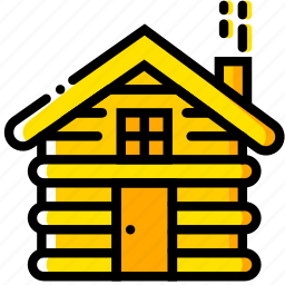 cabin, outdoor, wild, yellow icon