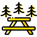 area, outdoor, picnic, wild, yellow icon