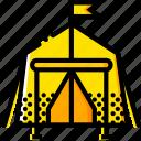 outdoor, tent, wild, yellow icon