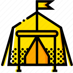 outdoor, tent, wild, yellow icon