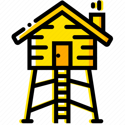 hunting, lodge, outdoor, wild, yellow icon