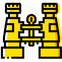binoculars, outdoor, wild, yellow icon