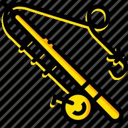 fishing, outdoor, rod, wild, yellow icon