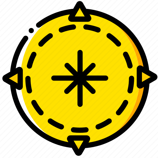 compass, outdoor, wild, yellow icon