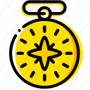 compass, outdoor, wild, yellow icon