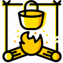 outdoor, stove, wild, yellow icon