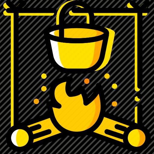 outdoor, stove, wild, yellow icon