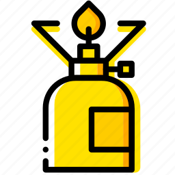 cooker, gas, outdoor, wild, yellow icon
