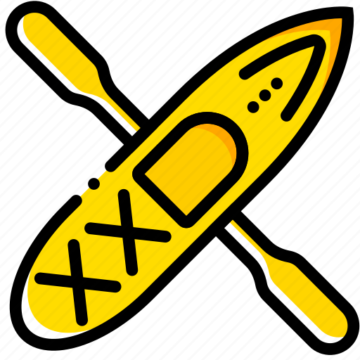 canoe, outdoor, wild, yellow icon