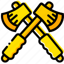 hatchets, outdoor, wild, yellow icon