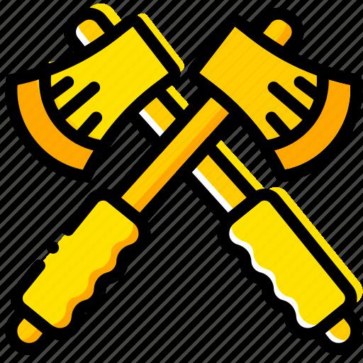 hatchets, outdoor, wild, yellow icon
