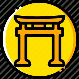 pray, religion, shintoism, yellow icon