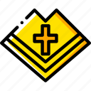 catholic, mantle, pray, religion, yellow icon