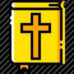 bible, pray, religion, yellow icon
