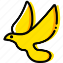 dove, pray, religion, yellow icon