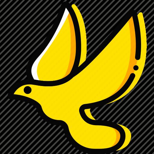 dove, pray, religion, yellow icon