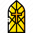 cathedral, pray, religion, window, yellow icon